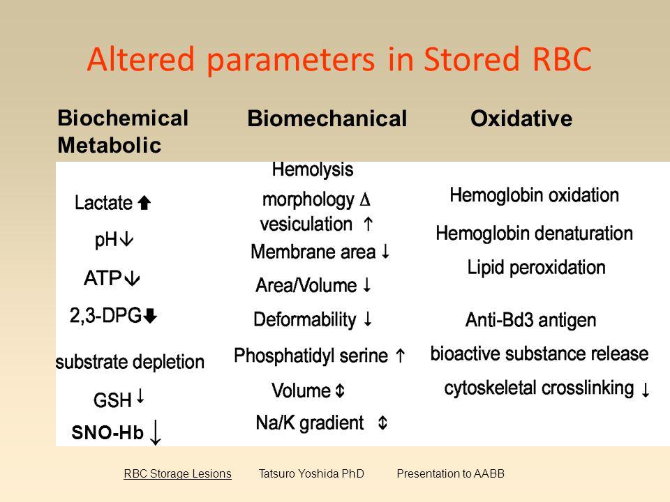 Altered parameters in Stored RBC Biochemical Metabolic BiomechanicalOxidative SNO-Hb ↓ RBC Storage Lesions Tatsuro Yoshida PhD Presentation to AABB