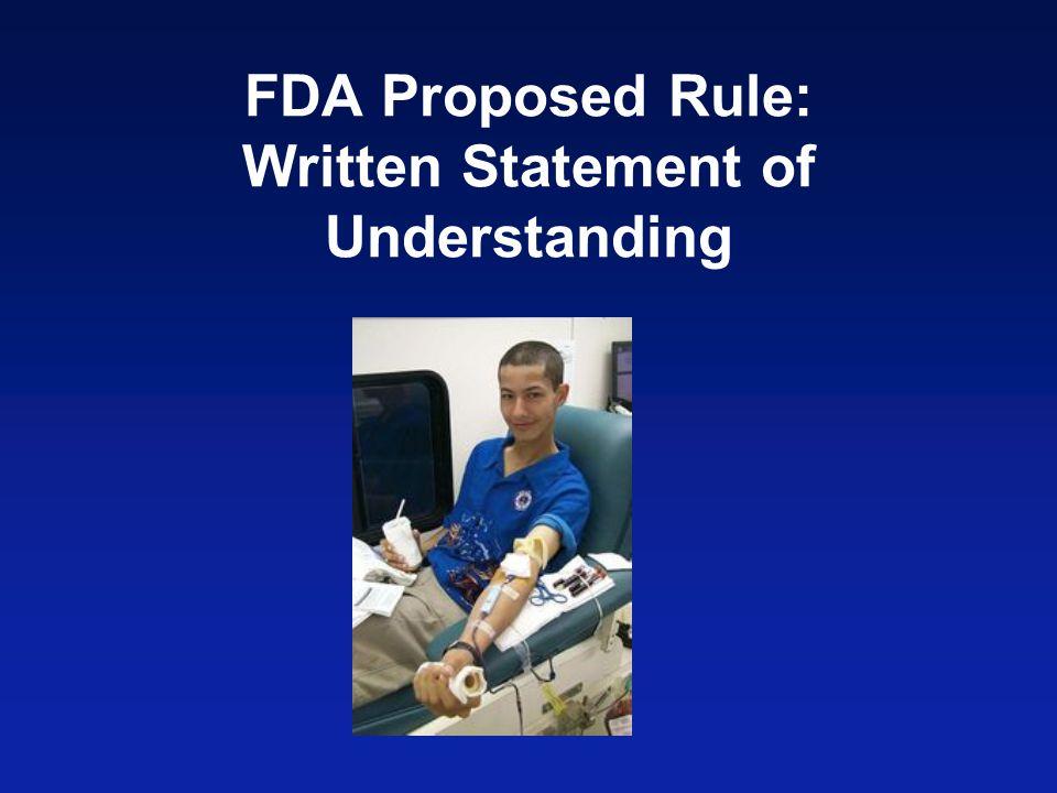 FDA Proposed Rule: Written Statement of Understanding