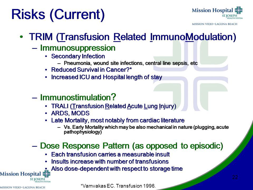 Risks (Current) TRIM (Transfusion Related ImmunoModulation) –Immunosuppression Secondary Infection –Pneumonia, wound site infections, central line sepsis, etc Reduced Survival in Cancer * Increased ICU and Hospital length of stay –Immunostimulation .