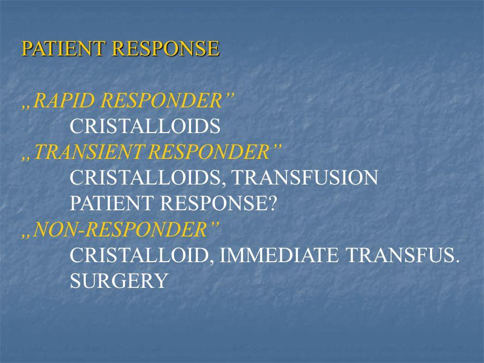 "PATIENT RESPONSE ""RAPID RESPONDER CRISTALLOIDS ""TRANSIENT RESPONDER CRISTALLOIDS, TRANSFUSION PATIENT RESPONSE."