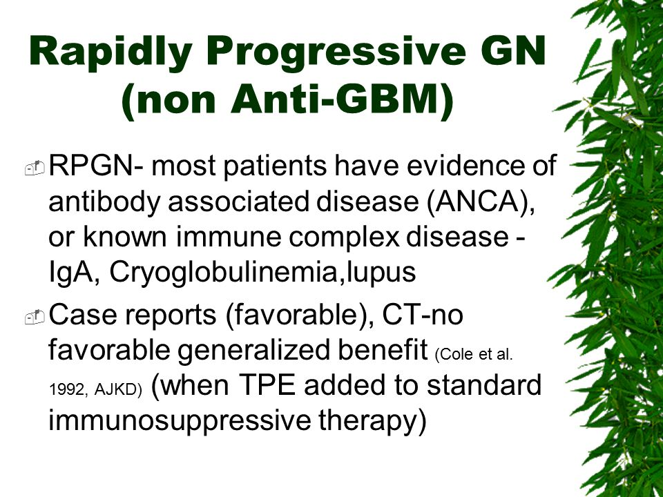 Rapidly Progressive GN (non Anti-GBM)  RPGN- most patients have evidence of antibody associated disease (ANCA), or known immune complex disease - IgA