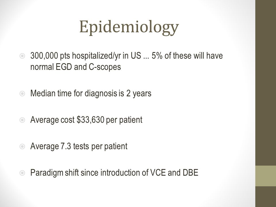 Epidemiology  300,000 pts hospitalized/yr in US... 5% of these will have normal EGD and C-scopes  Median time for diagnosis is 2 years  Average cos