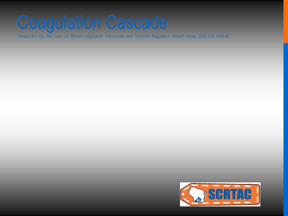 Coagulation Cascade Tanaka KA, Key NS, Levy JH. Blood Coagulation: Hemostatis and Thrombin Regulation. Anesth Analg. 2009;108:1433-46.