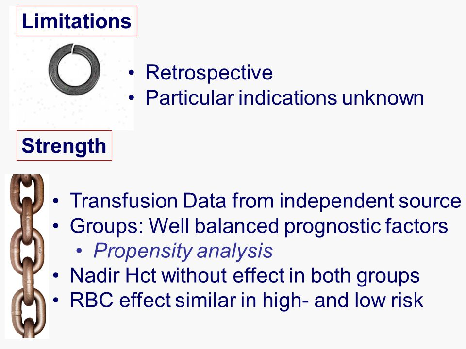Limitations Retrospective Particular indications unknown Strength Transfusion Data from independent source Groups: Well balanced prognostic factors Propensity analysis Nadir Hct without effect in both groups RBC effect similar in high- and low risk
