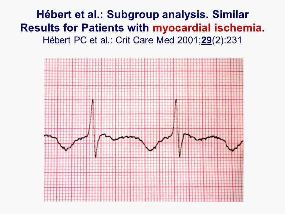 Hébert et al.: Subgroup analysis. Similar Results for Patients with myocardial ischemia. Hébert PC et al.: Crit Care Med 2001;29(2):231