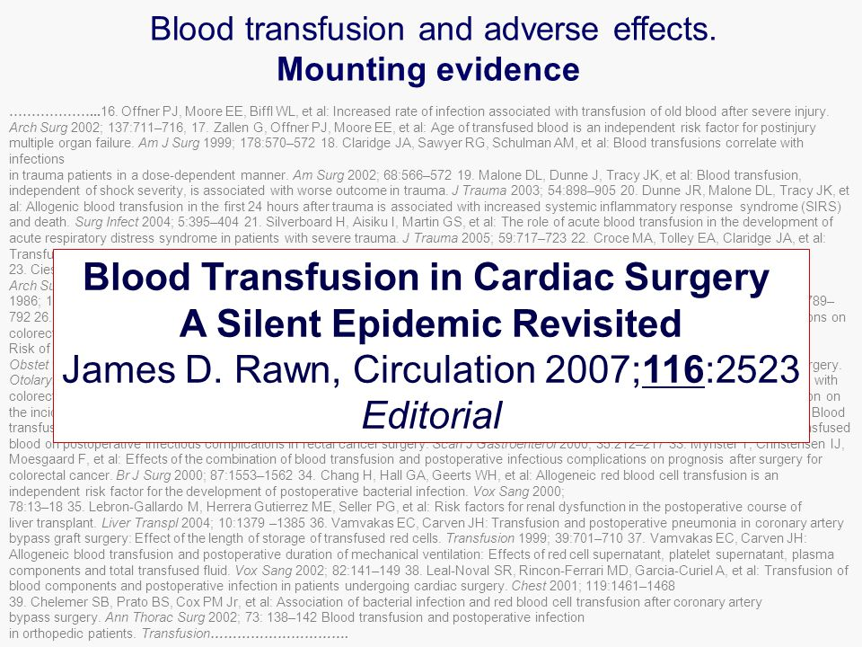 2 nd Conclusion Red Cell Transfusion has no proven benefit for the recipient incl.