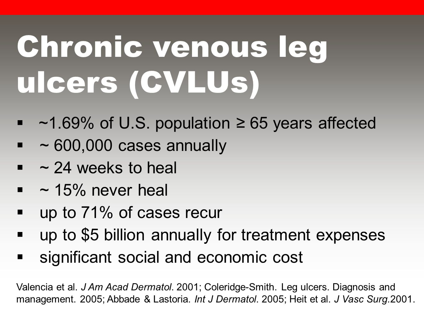 Chronic venous leg ulcers (CVLUs)  ~1.69% of U.S.