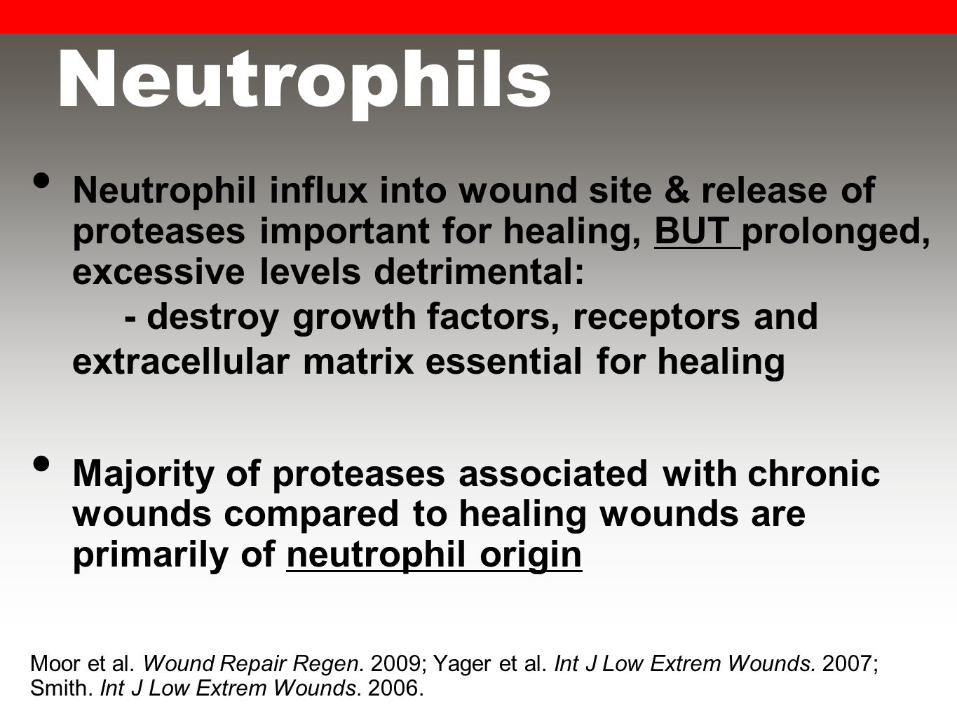 Neutrophils Neutrophil influx into wound site & release of proteases important for healing, BUT prolonged, excessive levels detrimental: - destroy growth factors, receptors and extracellular matrix essential for healing Majority of proteases associated with chronic wounds compared to healing wounds are primarily of neutrophil origin Moor et al.