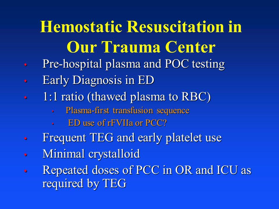Hemostatic Resuscitation in Our Trauma Center Pre-hospital plasma and POC testing Pre-hospital plasma and POC testing Early Diagnosis in ED Early Diag