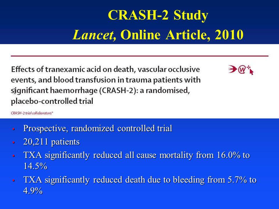 CRASH-2 Study Lancet, Online Article, 2010 Prospective, randomized controlled trial Prospective, randomized controlled trial 20,211 patients 20,211 pa