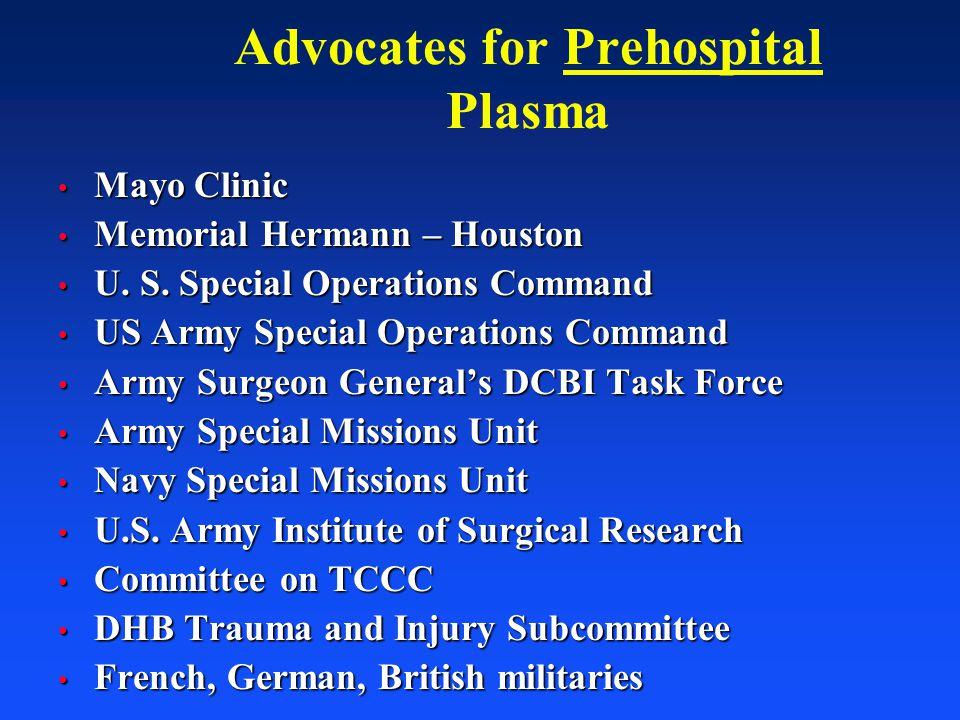 Advocates for Prehospital Plasma Mayo Clinic Mayo Clinic Memorial Hermann – Houston Memorial Hermann – Houston U. S. Special Operations Command U. S.
