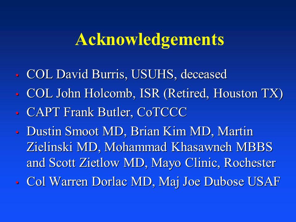 Acknowledgements COL David Burris, USUHS, deceased COL David Burris, USUHS, deceased COL John Holcomb, ISR (Retired, Houston TX) COL John Holcomb, ISR