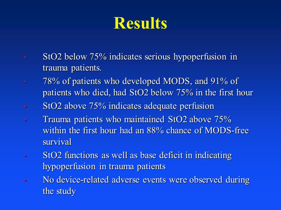 StO2 below 75% indicates serious hypoperfusion in trauma patients. StO2 below 75% indicates serious hypoperfusion in trauma patients. 78% of patients