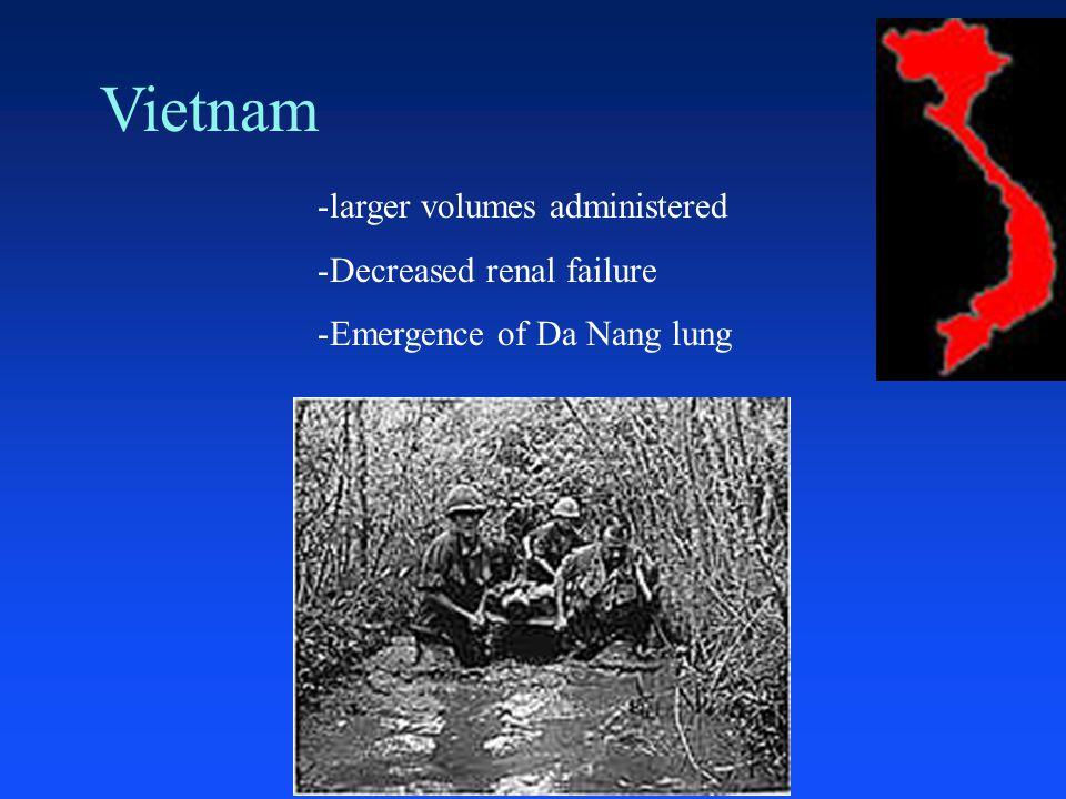 Vietnam -larger volumes administered -Decreased renal failure -Emergence of Da Nang lung