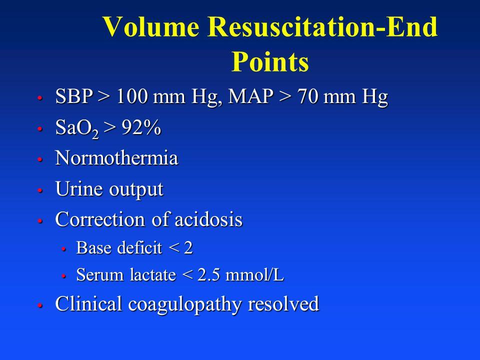 Volume Resuscitation-End Points SBP > 100 mm Hg, MAP > 70 mm Hg SBP > 100 mm Hg, MAP > 70 mm Hg SaO 2 > 92% SaO 2 > 92% Normothermia Normothermia Urin