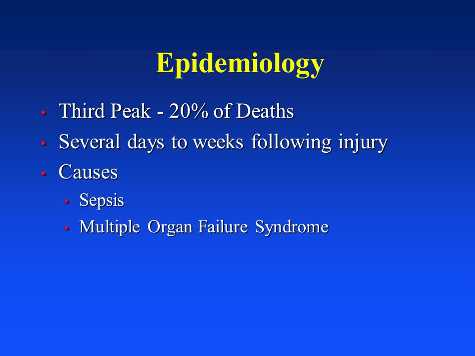 Epidemiology Third Peak - 20% of Deaths Third Peak - 20% of Deaths Several days to weeks following injury Several days to weeks following injury Cause
