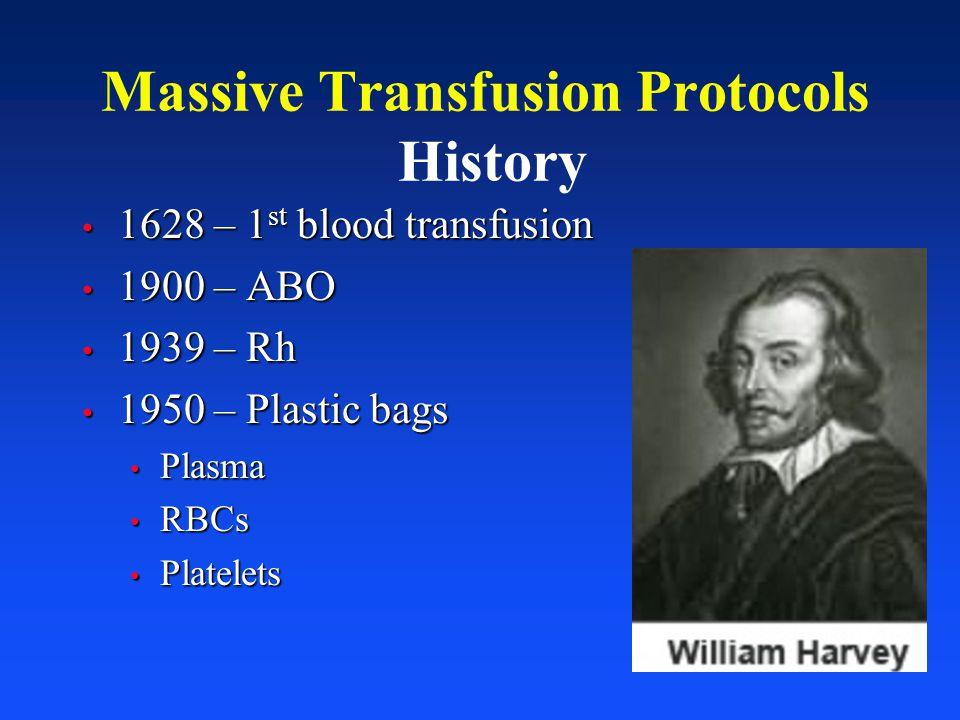 1628 – 1 st blood transfusion 1628 – 1 st blood transfusion 1900 – ABO 1900 – ABO 1939 – Rh 1939 – Rh 1950 – Plastic bags 1950 – Plastic bags Plasma P