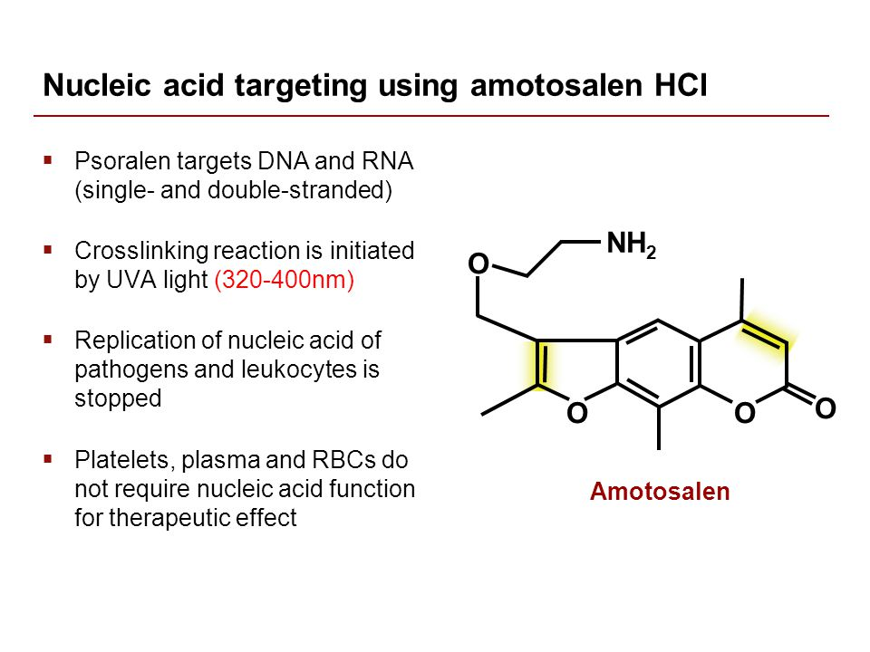 Nucleic acid targeting using amotosalen HCl  Psoralen targets DNA and RNA (single- and double-stranded)  Crosslinking reaction is initiated by UVA light (320-400nm)  Replication of nucleic acid of pathogens and leukocytes is stopped  Platelets, plasma and RBCs do not require nucleic acid function for therapeutic effect Amotosalen O NH 2 O O O