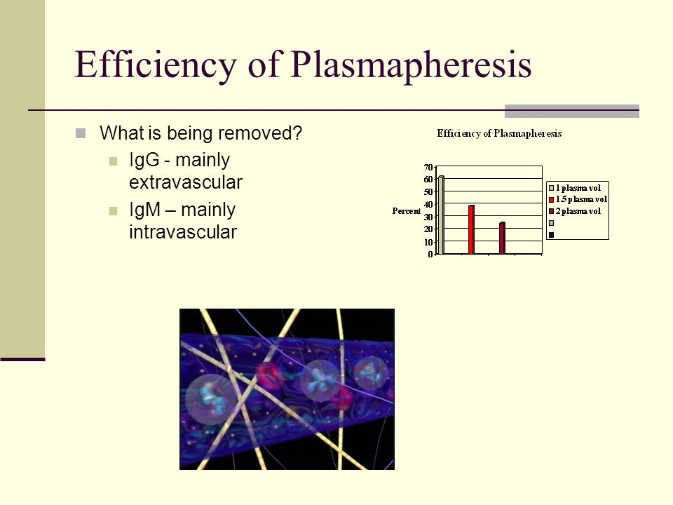 Efficiency of Plasmapheresis What is being removed? IgG - mainly extravascular IgM – mainly intravascular