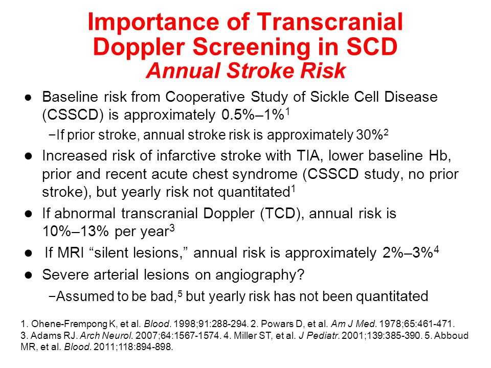 Importance of Transcranial Doppler Screening in SCD Annual Stroke Risk ●Baseline risk from Cooperative Study of Sickle Cell Disease (CSSCD) is approximately 0.5%–1% 1 −If prior stroke, annual stroke risk is approximately 30% 2 ● Increased risk of infarctive stroke with TIA, lower baseline Hb, prior and recent acute chest syndrome (CSSCD study, no prior stroke), but yearly risk not quantitated 1 ● If abnormal transcranial Doppler (TCD), annual risk is 10%–13% per year 3 ● If MRI silent lesions, annual risk is approximately 2%–3% 4 ● Severe arterial lesions on angiography.