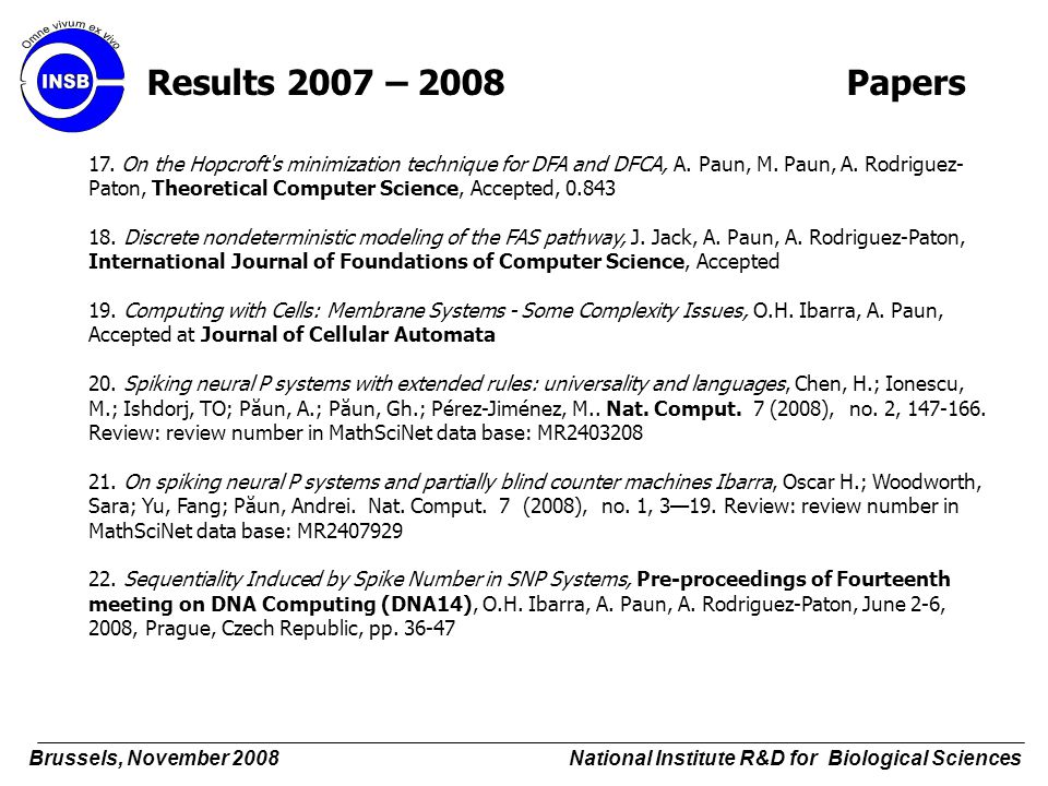 17. On the Hopcroft's minimization technique for DFA and DFCA, A. Paun, M. Paun, A. Rodriguez- Paton, Theoretical Computer Science, Accepted, 0.843 18