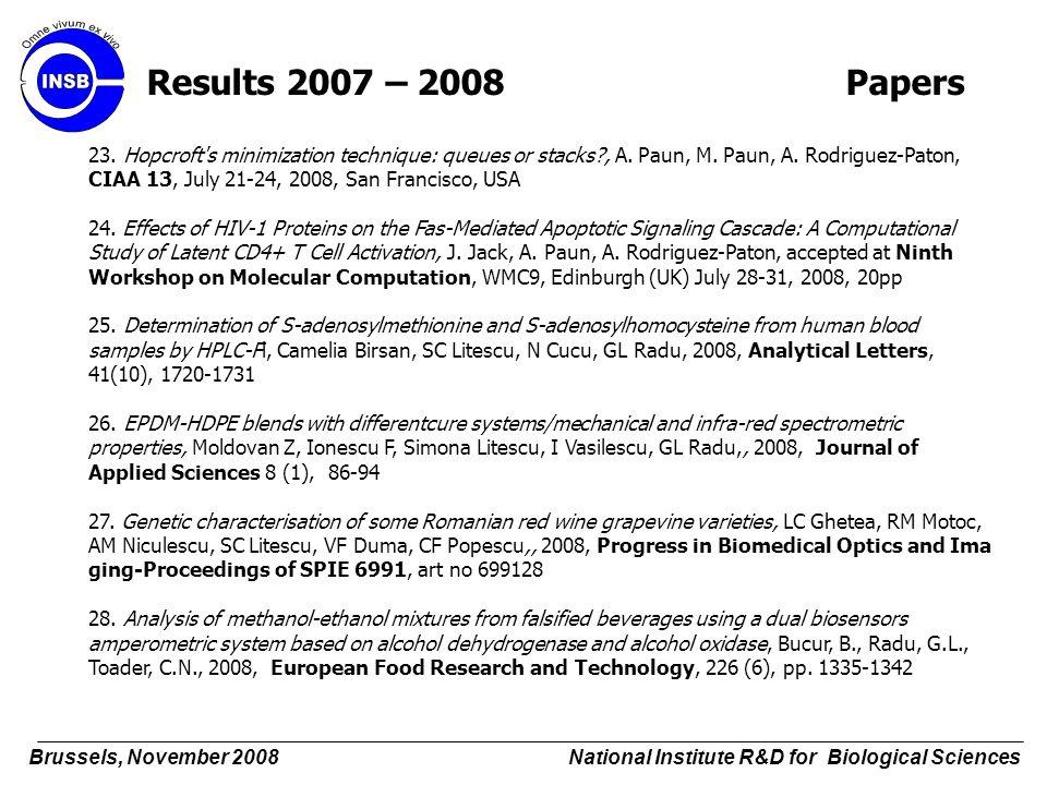 23. Hopcroft's minimization technique: queues or stacks?, A. Paun, M. Paun, A. Rodriguez-Paton, CIAA 13, July 21-24, 2008, San Francisco, USA 24. Effe