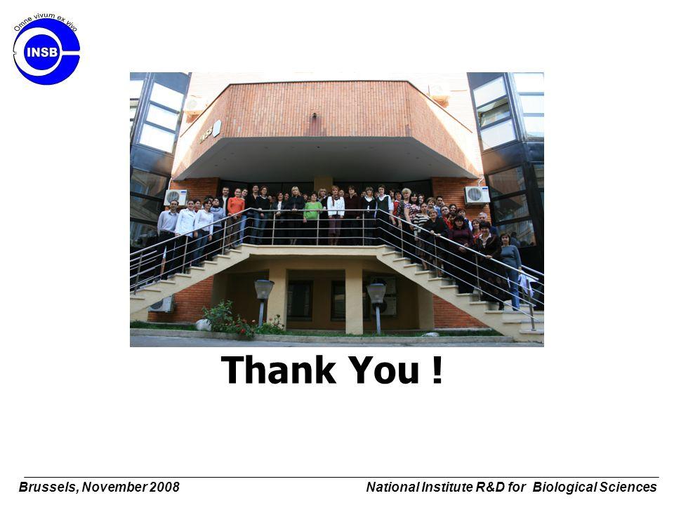 Thank You ! Brussels, November 2008 National Institute R&D for Biological Sciences
