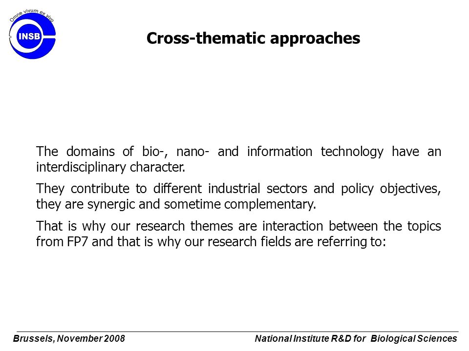 The domains of bio-, nano- and information technology have an interdisciplinary character. They contribute to different industrial sectors and policy