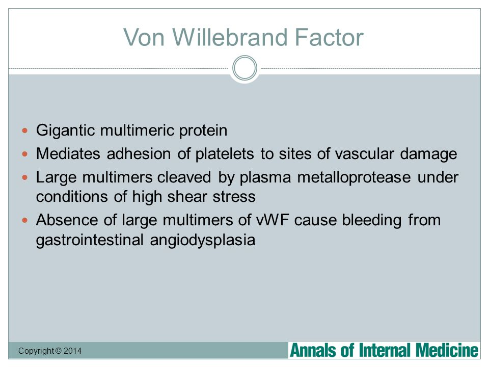 Copyright © 2014 Von Willebrand Factor Gigantic multimeric protein Mediates adhesion of platelets to sites of vascular damage Large multimers cleaved by plasma metalloprotease under conditions of high shear stress Absence of large multimers of vWF cause bleeding from gastrointestinal angiodysplasia