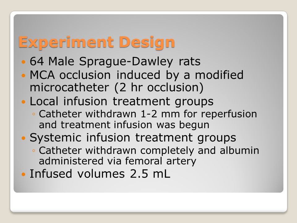 Experiment Design 64 Male Sprague-Dawley rats MCA occlusion induced by a modified microcatheter (2 hr occlusion) Local infusion treatment groups ◦Catheter withdrawn 1-2 mm for reperfusion and treatment infusion was begun Systemic infusion treatment groups ◦Catheter withdrawn completely and albumin administered via femoral artery Infused volumes 2.5 mL