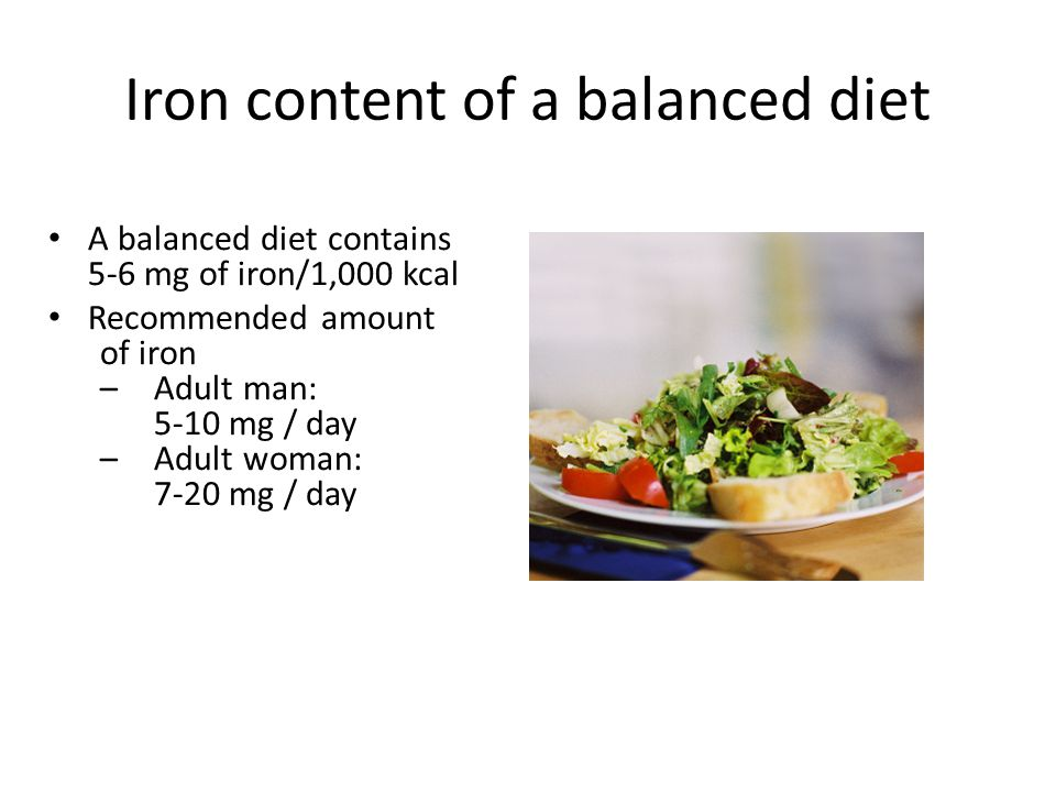 Iron content of a balanced diet A balanced diet contains 5-6 mg of iron/1,000 kcal Recommended amount of iron –Adult man: 5-10 mg / day –Adult woman: