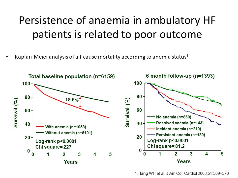 Kaplan-Meier analysis of all-cause mortality according to anemia status 1 Persistence of anaemia in ambulatory HF patients is related to poor outcome
