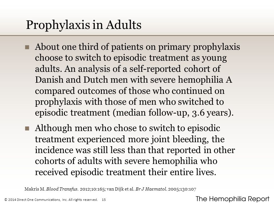 © 2014 Direct One Communications, Inc. All rights reserved. 15 Prophylaxis in Adults About one third of patients on primary prophylaxis choose to swit
