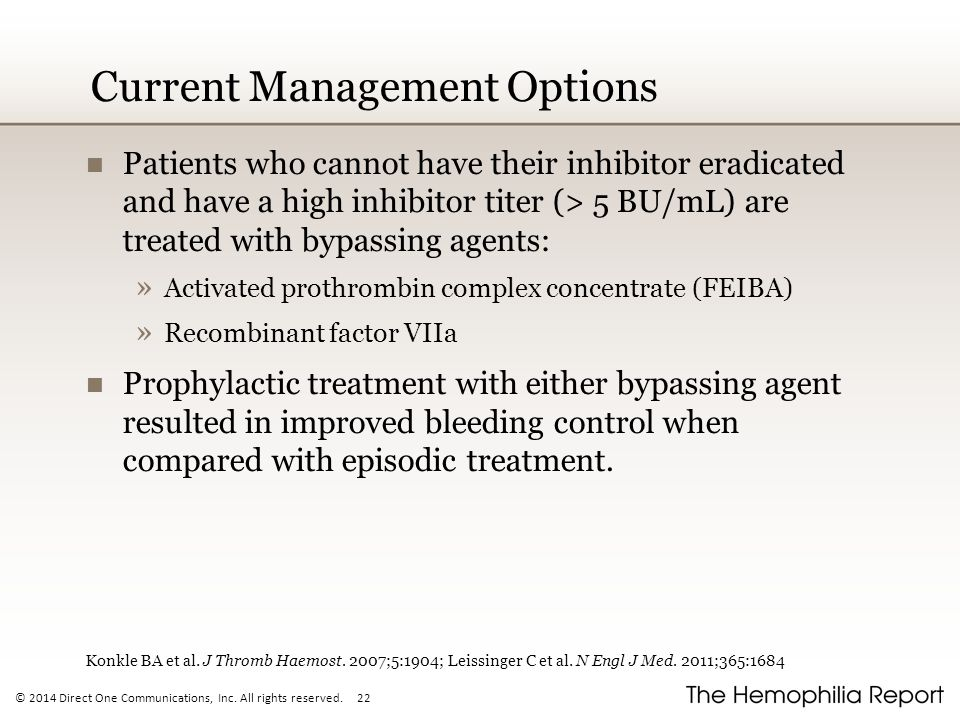 © 2014 Direct One Communications, Inc. All rights reserved. 22 Current Management Options Patients who cannot have their inhibitor eradicated and have
