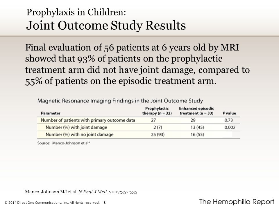 © 2014 Direct One Communications, Inc. All rights reserved. 8 Prophylaxis in Children: Joint Outcome Study Results Final evaluation of 56 patients at