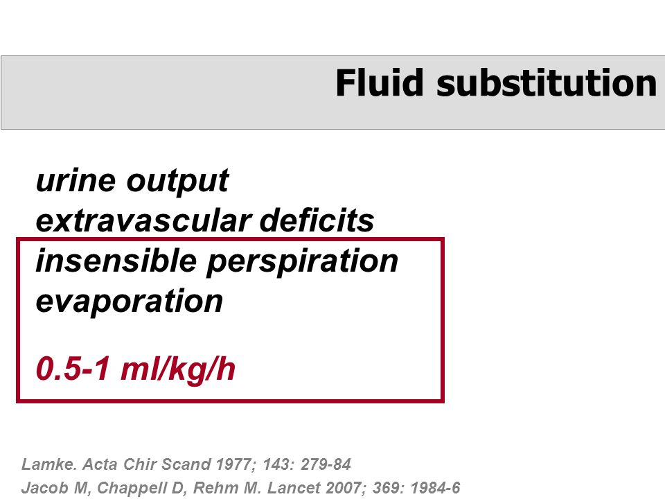 urine output extravascular deficits insensible perspiration evaporation Fluid substitution Lamke.