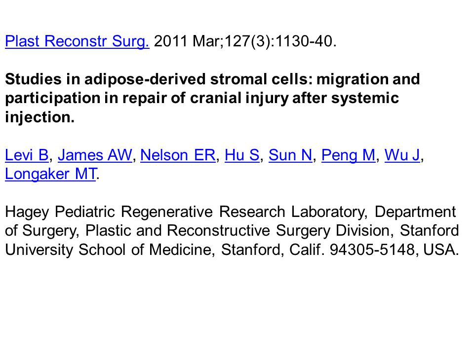 Plast Reconstr Surg.Plast Reconstr Surg. 2011 Mar;127(3):1130-40. Studies in adipose-derived stromal cells: migration and participation in repair of c