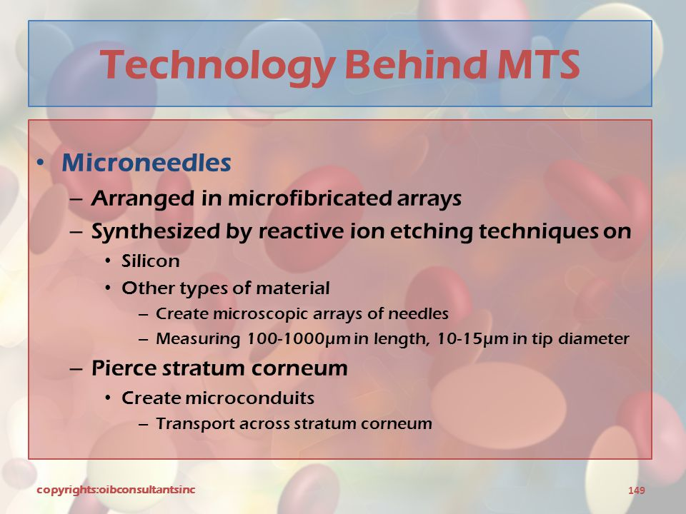 Technology Behind MTS Microneedles – Arranged in microfibricated arrays – Synthesized by reactive ion etching techniques on Silicon Other types of mat