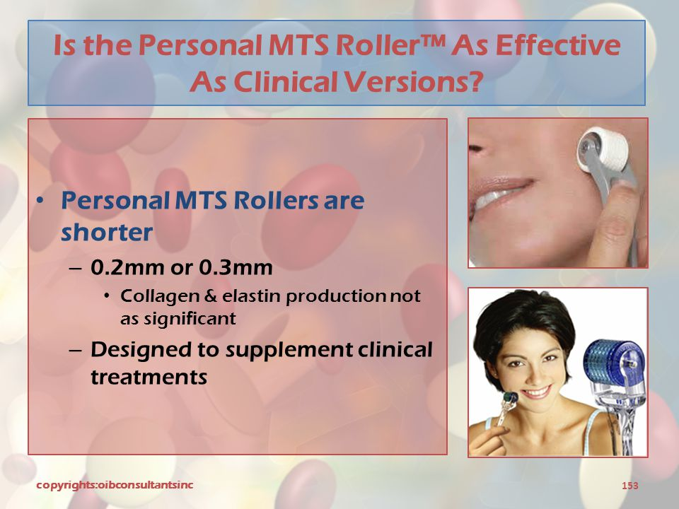 Is the Personal MTS Roller™ As Effective As Clinical Versions? Personal MTS Rollers are shorter – 0.2mm or 0.3mm Collagen & elastin production not as