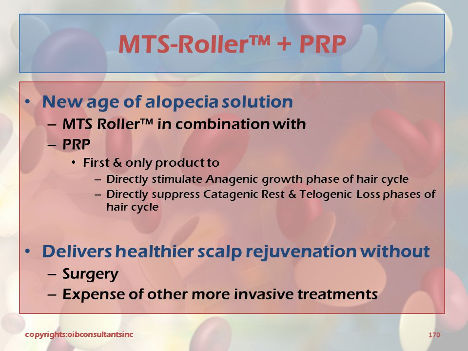 MTS-Roller™ + PRP New age of alopecia solution – MTS Roller™ in combination with – PRP First & only product to – Directly stimulate Anagenic growth ph