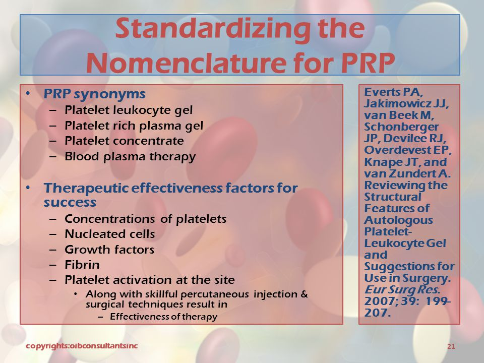 Standardizing the Nomenclature for PRP PRP synonyms – Platelet leukocyte gel – Platelet rich plasma gel – Platelet concentrate – Blood plasma therapy