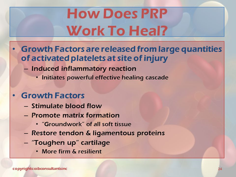 How Does PRP Work To Heal? Growth Factors are released from large quantities of activated platelets at site of injury – Induced inflammatory reaction