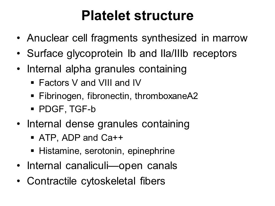 Platelet structure Anuclear cell fragments synthesized in marrow Surface glycoprotein Ib and IIa/IIIb receptors Internal alpha granules containing  Factors V and VIII and IV  Fibrinogen, fibronectin, thromboxaneA2  PDGF, TGF-b Internal dense granules containing  ATP, ADP and Ca++  Histamine, serotonin, epinephrine Internal canaliculi—open canals Contractile cytoskeletal fibers