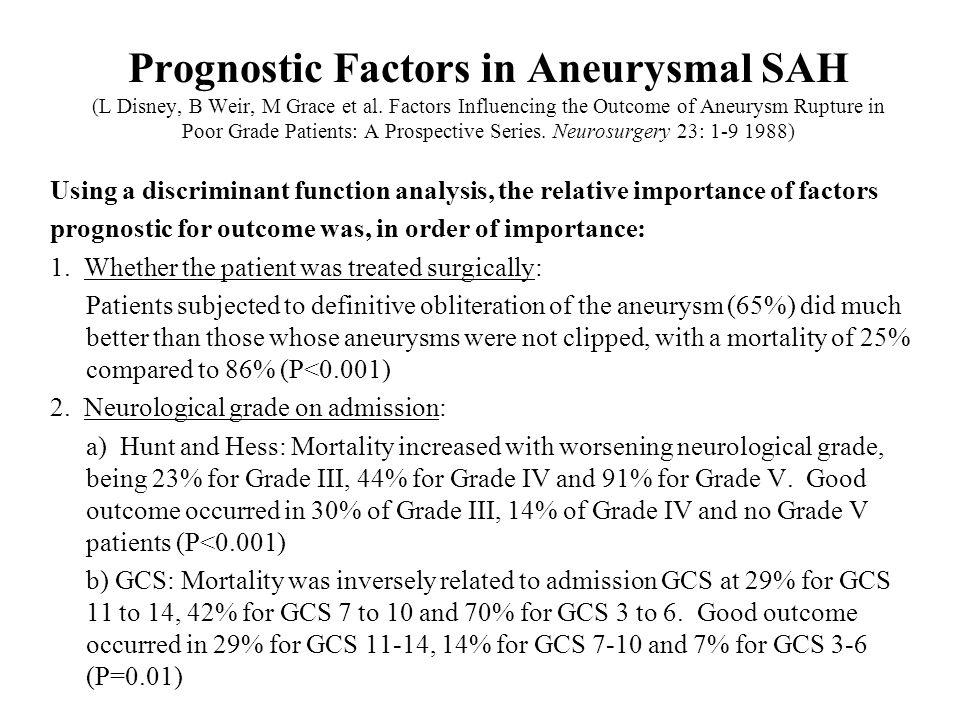 Prognostic Factors in Aneurysmal SAH (L Disney, B Weir, M Grace et al. Factors Influencing the Outcome of Aneurysm Rupture in Poor Grade Patients: A P