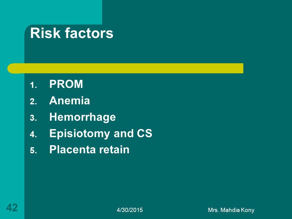 Risk factors 1. PROM 2. Anemia 3. Hemorrhage 4. Episiotomy and CS 5. Placenta retain 4/30/2015Mrs. Mahdia Kony 42