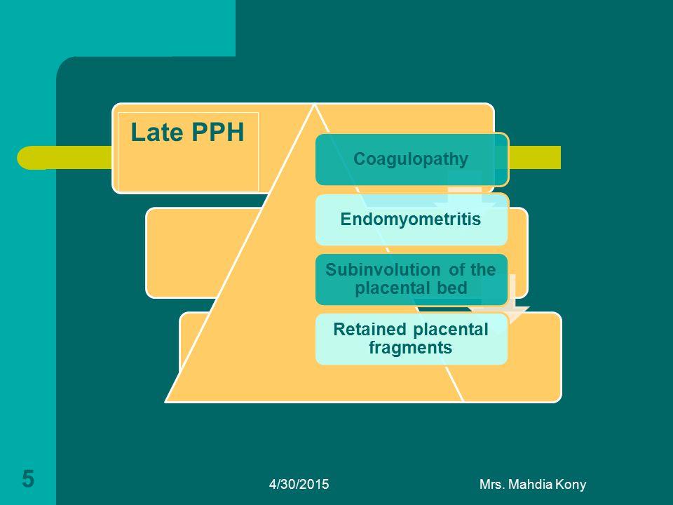 4/30/2015Mrs. Mahdia Kony 5 CoagulopathyEndomyometritis Subinvolution of the placental bed Retained placental fragments Late PPH