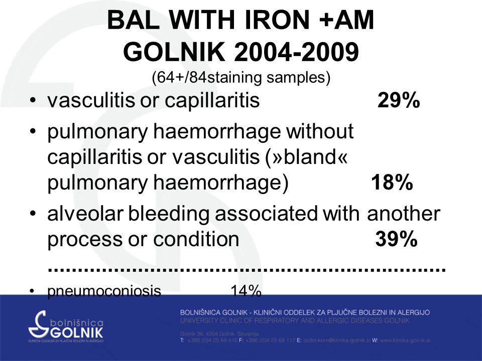 BAL WITH IRON +AM GOLNIK 2004-2009 (64+/84staining samples) vasculitis or capillaritis 29% pulmonary haemorrhage without capillaritis or vasculitis (»