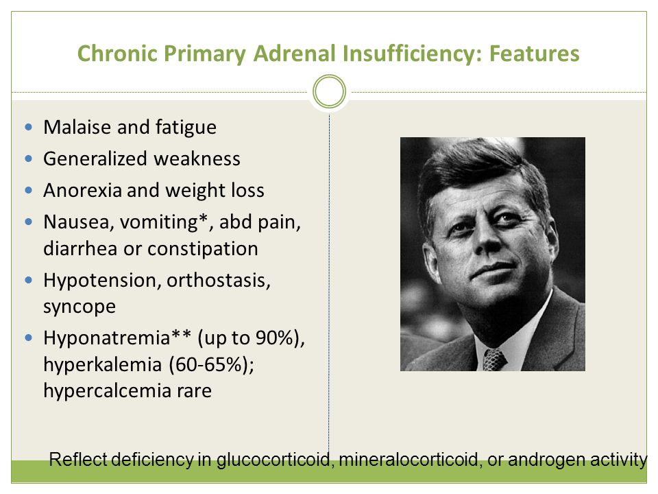 Chronic Primary Adrenal Insufficiency: Features Malaise and fatigue Generalized weakness Anorexia and weight loss Nausea, vomiting*, abd pain, diarrhea or constipation Hypotension, orthostasis, syncope Hyponatremia** (up to 90%), hyperkalemia (60-65%); hypercalcemia rare Reflect deficiency in glucocorticoid, mineralocorticoid, or androgen activity