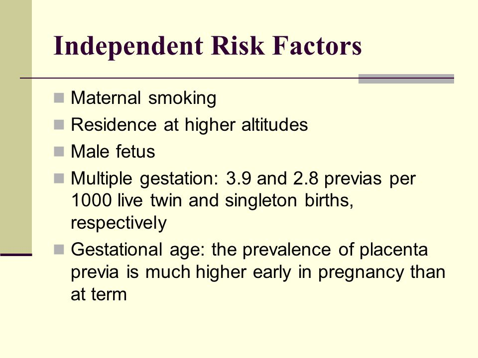 Independent Risk Factors Maternal smoking Residence at higher altitudes Male fetus Multiple gestation: 3.9 and 2.8 previas per 1000 live twin and sing