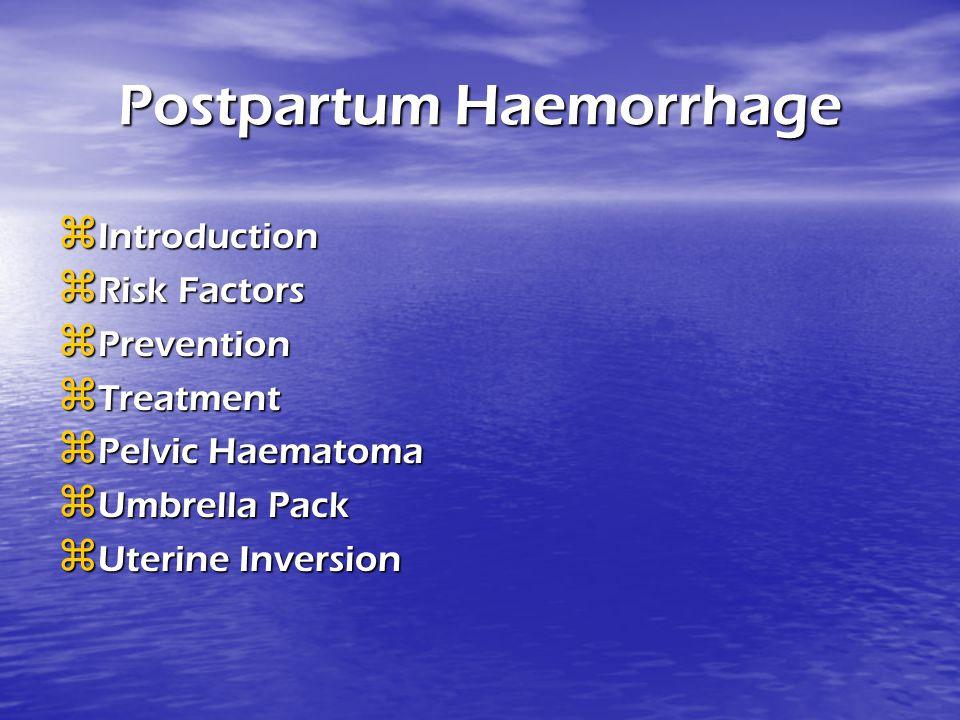Postpartum Haemorrhage IIIIntroduction RRRRisk Factors PPPPrevention TTTTreatment PPPPelvic Haematoma UUUUmbrella Pack UUU